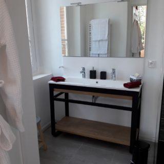 High standard bathroom with double basin sink, Italian shower and bathrobes