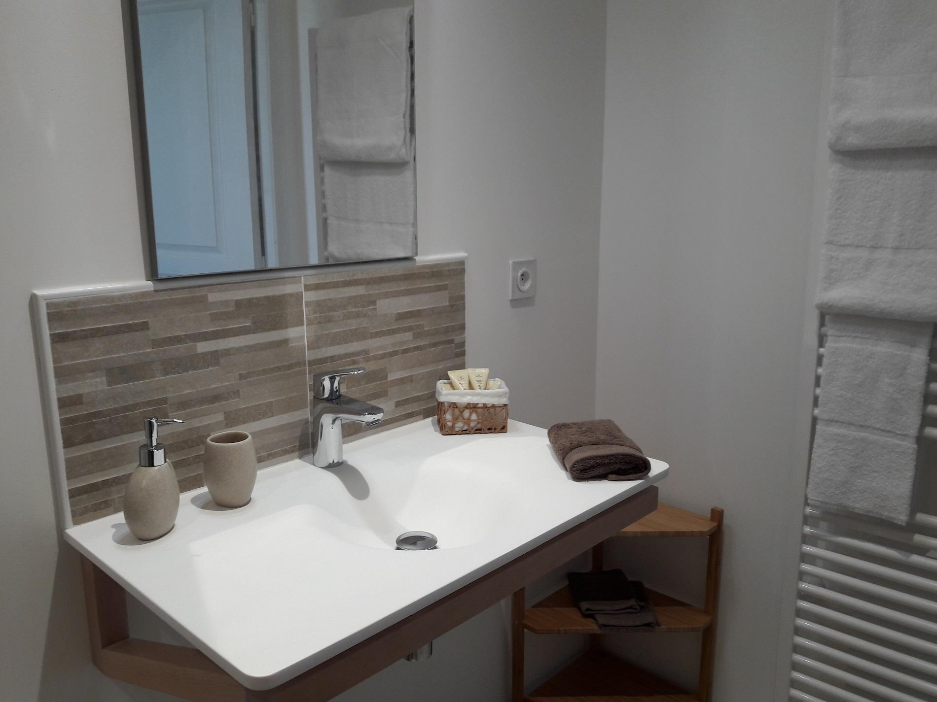 Salle de bain avec une vasque suspendue et miroir, produits de douche bio, sèche-cheveux