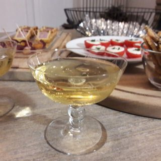 Christmas dinner aperitif with champagne and appetizers