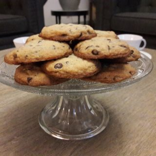 Nice homemade cookies on a lovely glass dish