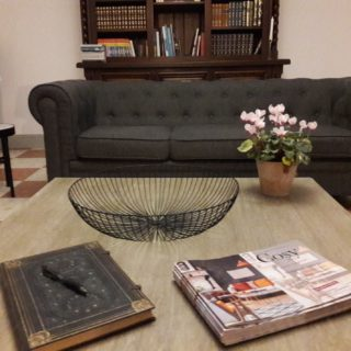 Cosy lounge with chesterfield sofa and libary