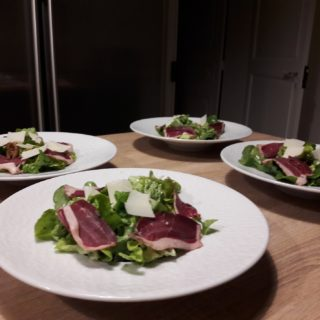 Gourmet salad at the menu of the table d'hotes dinner