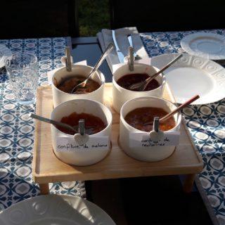 Assortment of homemade jams presented at breakfast