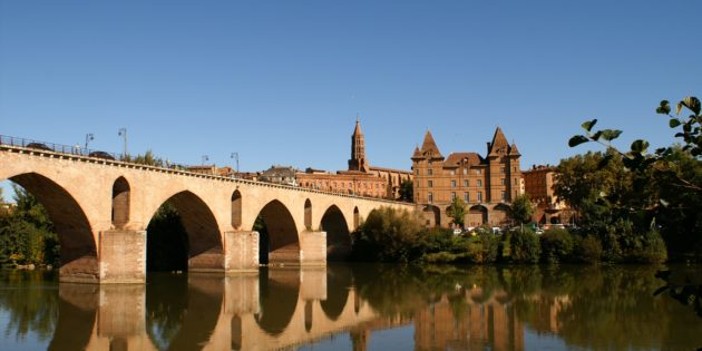 City of Montauban and its old bridge by the Ingres Bourdelle museum