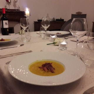 Pumpkin soup served as a starter for dinner at the table d'hotes