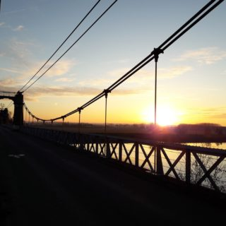 Sunset on the Coudol bridge in Saint Nicolas de la Grave