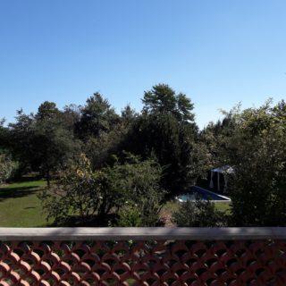 Belle vue sur le jardin depuis la terrasse d'une suite