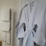Bathroom of guest room Earth with soft towels and honeycomb bathrobes
