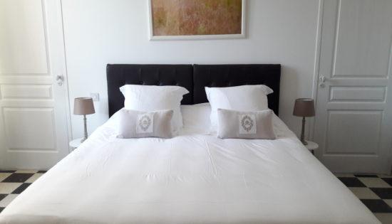 Belle chambre d'hôtes Terre située au rez-de-chaussée avec lit king size très confortable, décoration raffinée dans les tons de taupe
