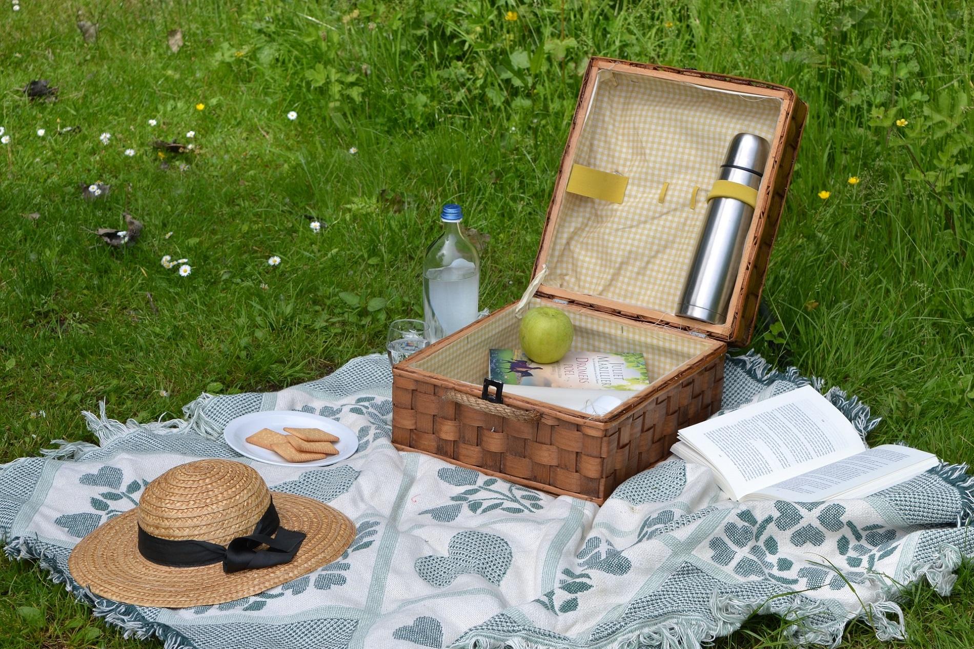 Magnifique panier pique-nique pour un déjeuner sur l'herbe chic et champêtre
